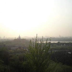 Beihai Park with White Dagoba as seen from Jinshang Park, 26.4.2012